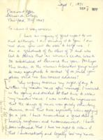 Letter from Christine Zartman to Barnard College, September 1, 1971