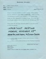 Memo from Mary Scotti to the Women's Studies faculty, regarding the meeting, November 12, 1971