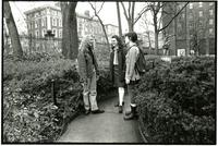 Three students talking on Lehman walk, spring 1995