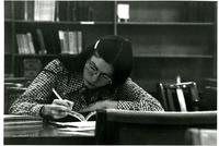 Student reading in Wollman Library, circa 1970s