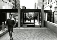 "Student passes through ""the Link"" between Alstchul and Milbank, circa 1985"