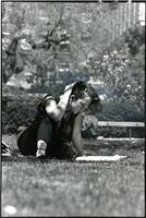 Student studying on Lehman Lawn, circa 1986
