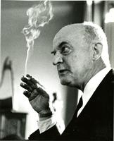 Dr. Reinhold Closeup in College Parlor, Final Danforth Lecture on Religion 1961