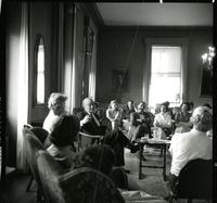 Dr. Reinhold in College Parlor, Final Danforth Lecture on Religion 1961