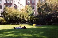 Students relaxing on Lehman Lawn, Fall 1994