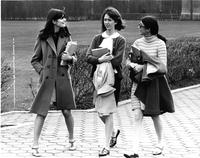 Students walking, circa 1970