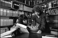 Students reading in library,1984