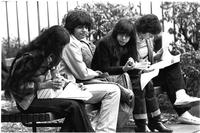 Students studying outside, circa 1982