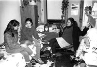 Students relaxing in dorm room, circa 1980s