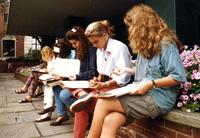Students sit on Lehman steps, circa 1990s