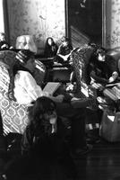 Students relaxing in common room, circa 1980s