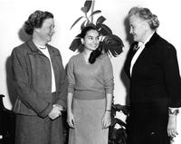 Student Meets Professor Del Rio and President McIntosh, circa 1956-1960