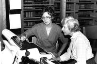 Mary Ellen Tucker and Director Betty Corbet of Wollman Library, circa 1980s