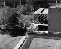 Barnard College campus aerial with Lehman Hall, 1961
