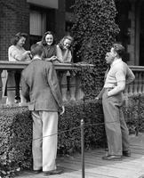 Visitors at Brooks Hall, circa 1942