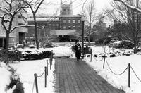 Student in front of Lehman Hall, January 1985
