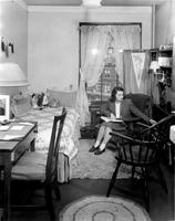Student in Hewitt Hall dorm room, circa 1940s