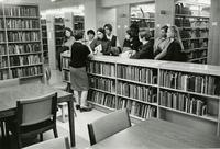 New student orientation in Wollman Library, circa 1967