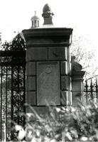 Plaque on column of Geer Gates, circa late 20th century