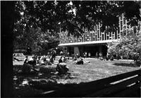 Students on Lehman Lawn in spring, circa 1970s