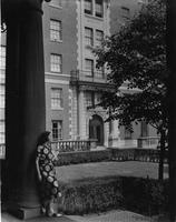Student looking out towards Hewitt Hall, circa 1950s