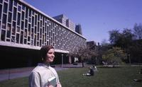 Student in front of Wollman Library, 1966